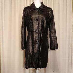Michael Michael Kors Black Leather Coat Large